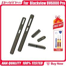 Piezas decorativas originales de izquierda y derecha + botón de volumen de encendido para Blackview BV6800 Pro, piezas metálicas de decoración de cubierta de batería
