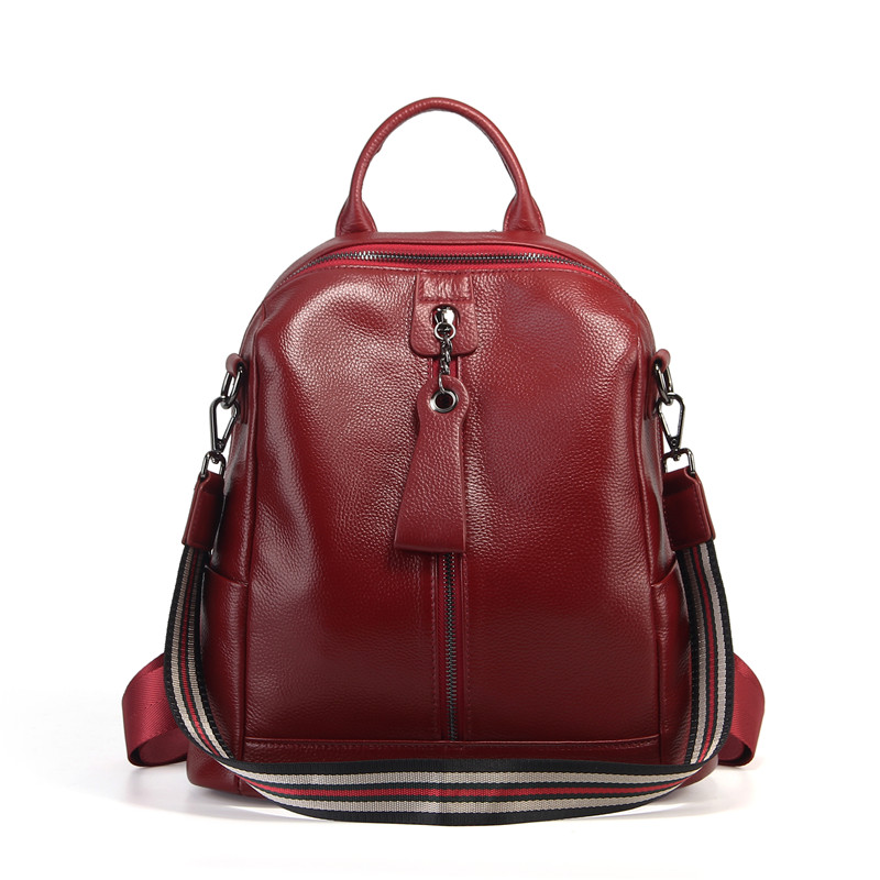 Nesitu Highend New Casual Fashion Black Red Coffee Grey Genuine Leather Women's Backpack Girl Female Lady Shoulder Bags M007