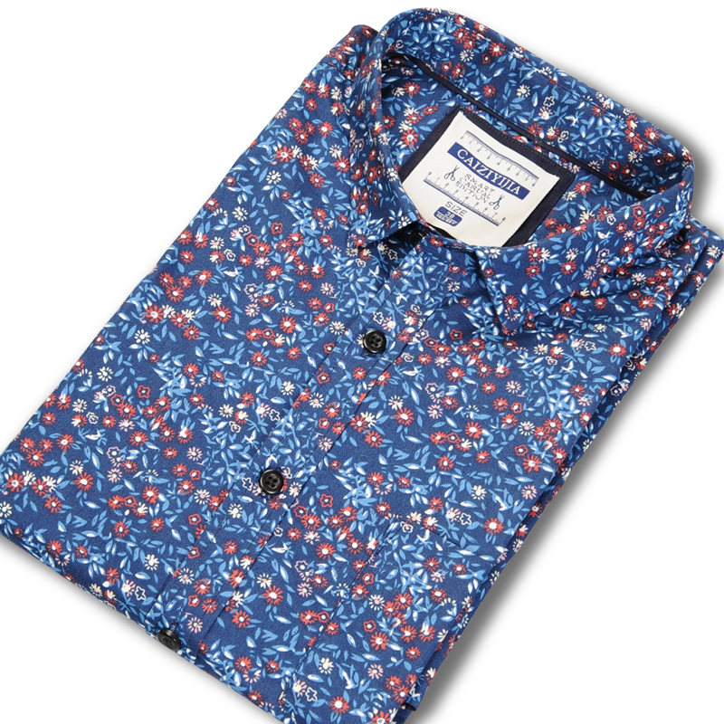 Men's Stylish Flowers Print Standard-fit Dress Shirts Comfortable Cotton Long Sleeve Casual Thin Tops Shirt For All Year Round