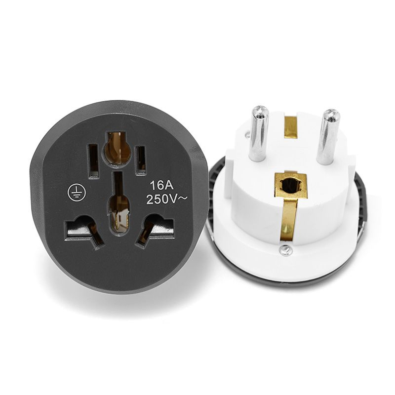 Universal EU Converter EU Adapter 2 Round Pin Socket AU US UK CN To EU Wall Socket AC 16A  250V Travel Adapter High Quality