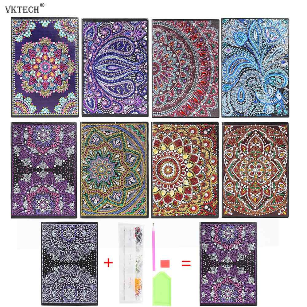 DIY Mandala Special Shaped Diamond Painting Notebook 50 Pages A5 Sketchbook Notebook Diamond Embroidery Cross Stitch Diary Book
