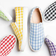 2020 Autumn New Women Flats Fashion Women Casual Shoes Candy-colored Plaid Flat