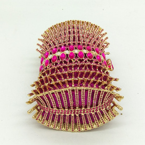 Image 3 - Boutique De FGG Hot Pink Fuchsia diamentowe cyrkonie drążą kobiety kryształowe torby torebka wieczorowa torebka koktajlowa dla nowożeńców torebka