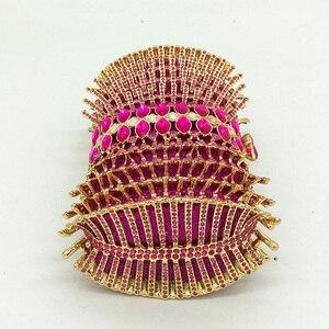 Image 3 - Boutique De FGG di Colore Rosa Caldo Fucsia Strass Diamante Scava Fuori Le Donne di Cristallo Borse Da Sera Borsa Da Sposa Da Sposa Della Borsa Della Borsa