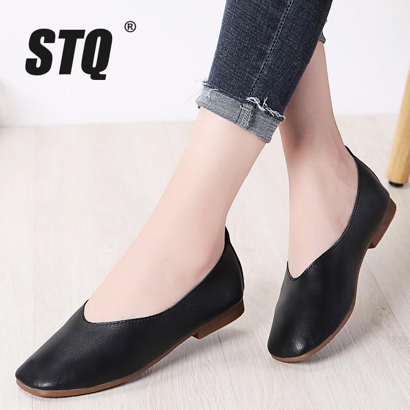 STQ Autumn Women Flats Genuine Leather Shoes Ladies Loafers Slip on Platform Shoes Female Walking Boats Shoes Female YY618Womens Flats   -