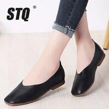 Stq sapatos femininos de couro genuíno, sapatos baixos em plataforma, slip on, calçados femininos para caminhada