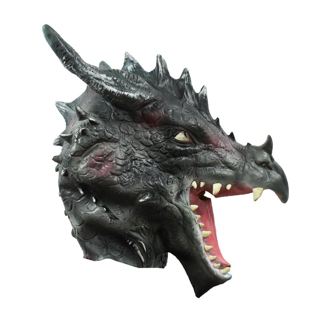 2019 New Halloween Costume Mask Ball Dragon Full Head Masquerade Animal Cosplay Latex Soft Breathable Dinosaur Toys