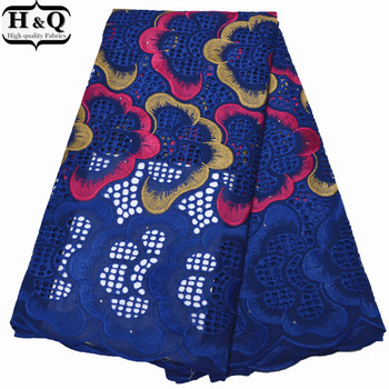 Royal Blue Lace Punched African Dry Lace Fabric With 100% Cotton Swiss Voile Lace In Switzerland 2020 Nigerian Embroidered Lace