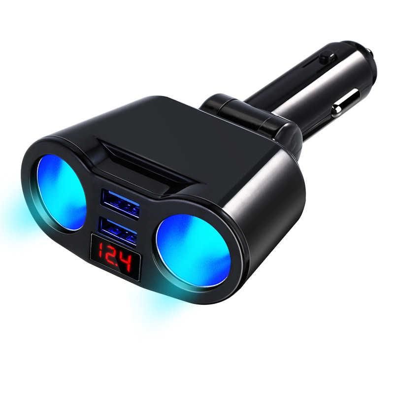 Akcesoria samochodowe 12V gniazdo zapalniczki samochodowej USB jeden na trzy ładowarki samochodowej wyświetlacz LED obrotowy 3.1A automatyczna ładowarka do telefonu na USB