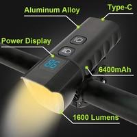 Potente faro per bicicletta a LED 6400mAh Luce per bici USB Type-C Carica rapida 1600 Lumen MTB Lampada frontale Torcia in alluminio per bici