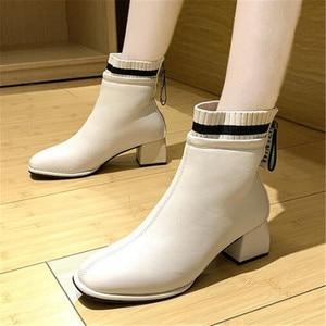 Женские теплые ботинки на высоком каблуке, черные или бежевые ботильоны, офисные кожаные ботинки, Размеры 35-39, для зимы, 2020