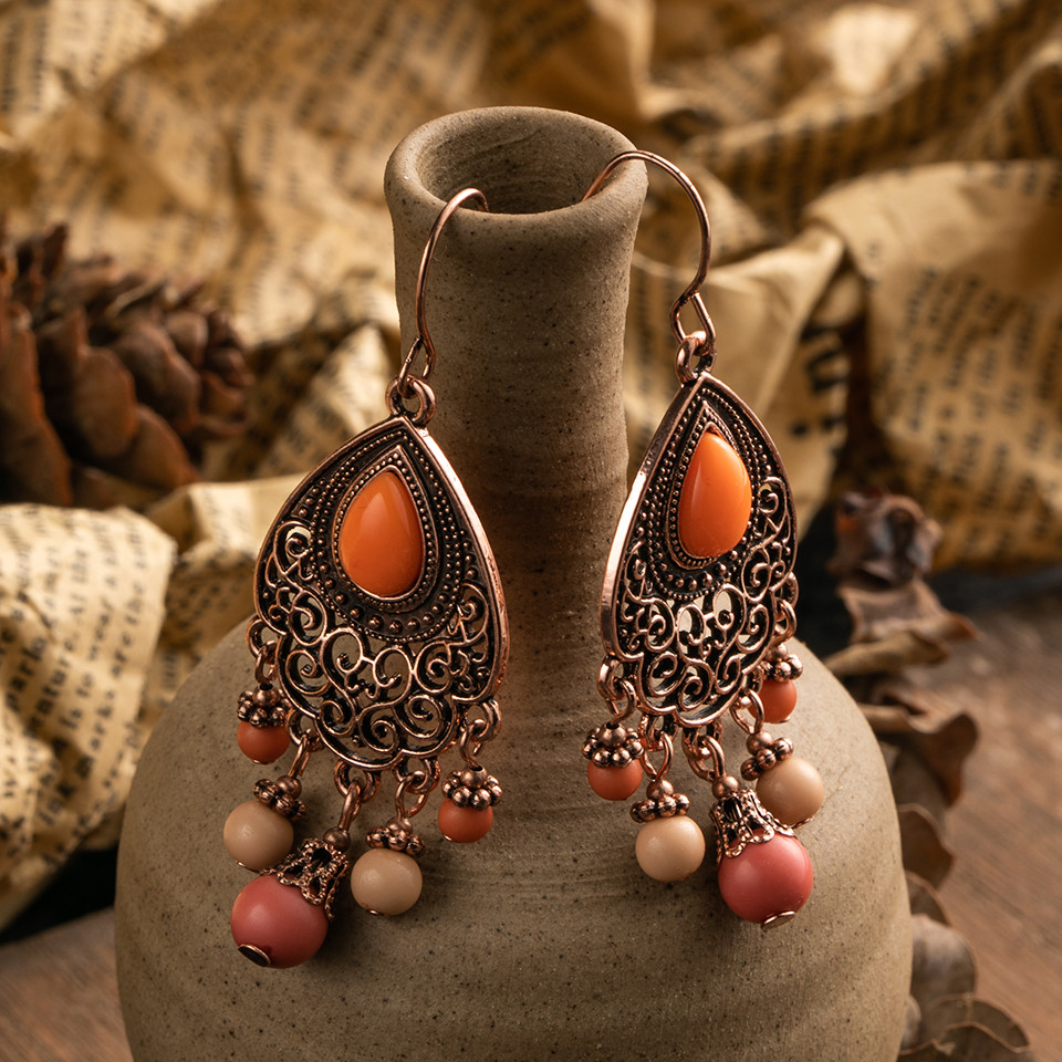 Bohemia Rose Gold Tassel Fringe Drop Earrings for Women Vintage Ethnic Natural Stones Round Geometric Earrings Female Jewelry