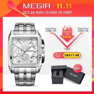 Image 2 - MEGIR Original Luxury Men Watch Stainless Steel Mens Quartz Wrist Watches Business Big Dial Wristwatches Relogio Masculino 2018