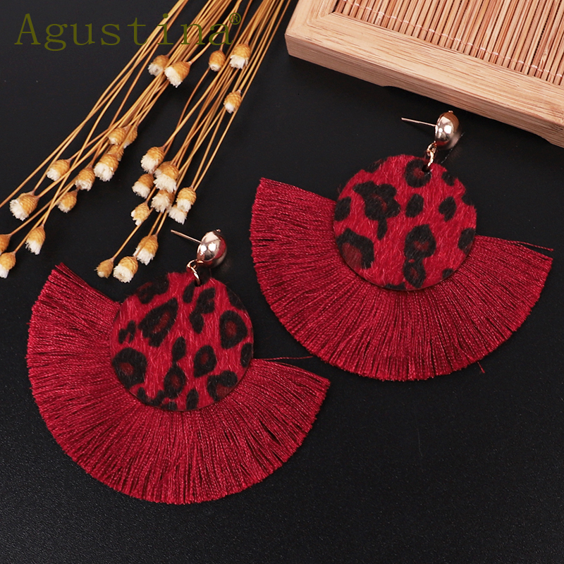 Agustina Fashion Tassel Earrings 2020 Women Drop Earrings Jewelry Flower Leopard Earrings Girls Punk Earring Bohemian Earings cc
