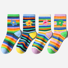 Woman Men Socks Colorful Stripes Rainbow Graffiti  Kawaii Flowers Women Creative Art Calcetines Divertidos Sox