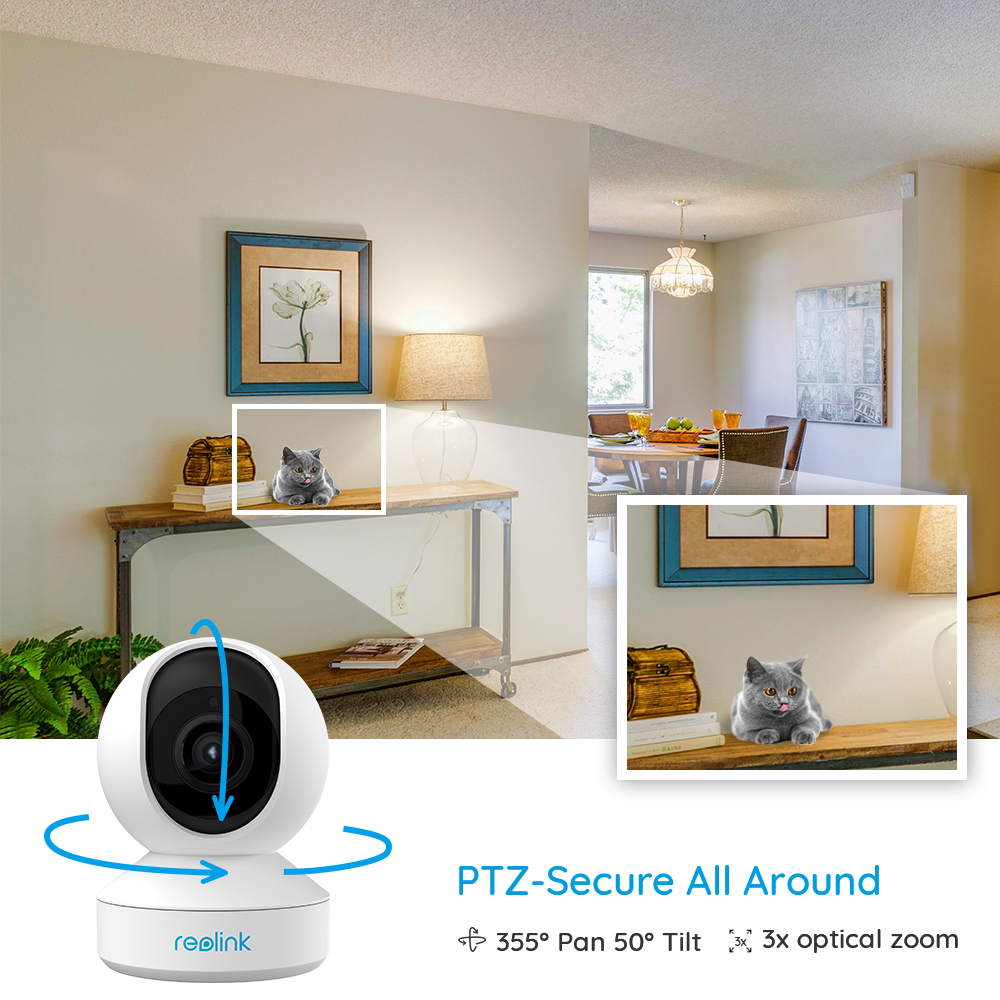 Reolink 5MP PTZ home security camera wifi 2.4G/5G 3x Optical Zoom Pan/Tilt 2-way audio indoor SD card slot remote access E1 Zoom