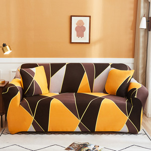 Plaid Print Spandex Sofa Cover Elastic Orange Geometric Couch Cover Tight Wrap Slipcover Christmas New Year Gift Home Decoration