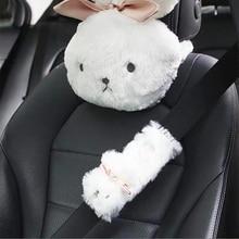 Cute Plush Bunny Neck Pillow Soft lovely Car Headrest Pillow Car Interior Accessories