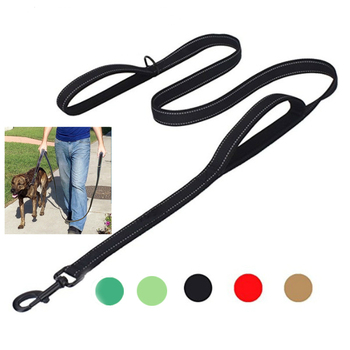 Big Dog Leash Double Hand Traction Rope Large Dog Collar Nylon Belt Double Thickened Reflective Strengthen Traction Harness 1