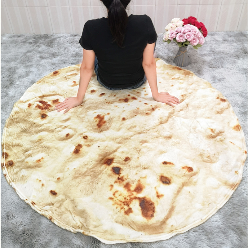 Pizza Tortilla Tortilla Blanket Pita Lavash soft blanket for bed wool sofa plaid plush bedspread Manta Burrito Koce-5