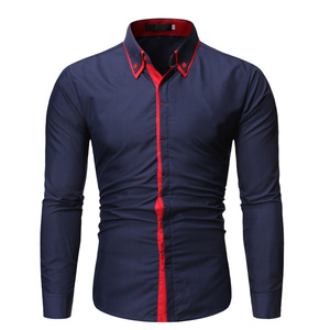 Image 2 - Новинка, мужская повседневная рубашка, высокое качество, сочетающиеся цвета, лацканы, длинный рукав, белая, светская, рубашка, тонкая, Мужская Уличная одежда, рубашка