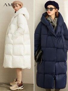 Image 2 - Amii зимняя одежда на белом утином пуху, новая зимняя свободная шапка с наклонными пуговицами, теплая длинная одежда для хлеба, 11970463
