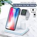 Беспроводное зарядное устройство для iPhone 11 11 PRO MAX samsung S10 быстрая Беспроводная 3 в 1 Зарядная площадка для huawei Xiaomi 9 Airpods iWatch 4 3 2