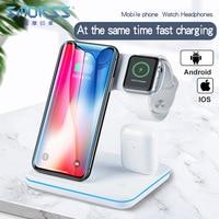 Carregador sem fio para iphone 11 11 pro max samsung s10 rápido sem fio 3 em 1 almofada de carregamento para huawei xiaomi 9 airpods iwatch 4 3 2|Carregadores de celular| |  -