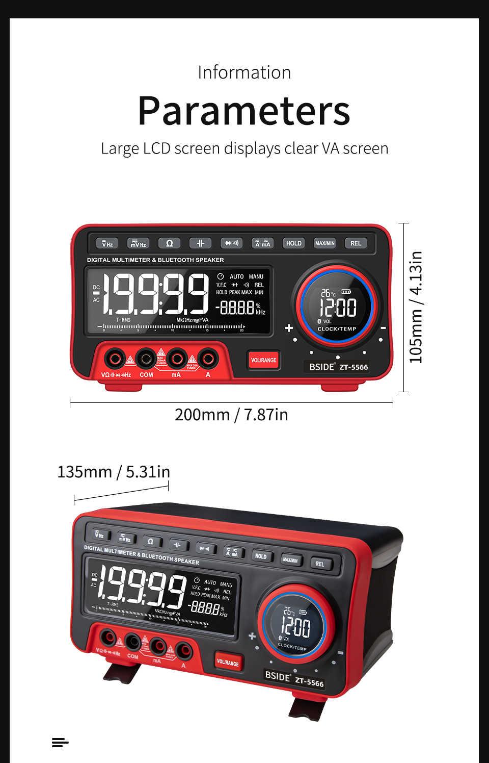 Bside Dual Display Digitale Multimeter Ebtn + Wireless Speaker + Klok 19999 Telt Tafelmodel Dmm Met 2 Stuks 18650 Batterij