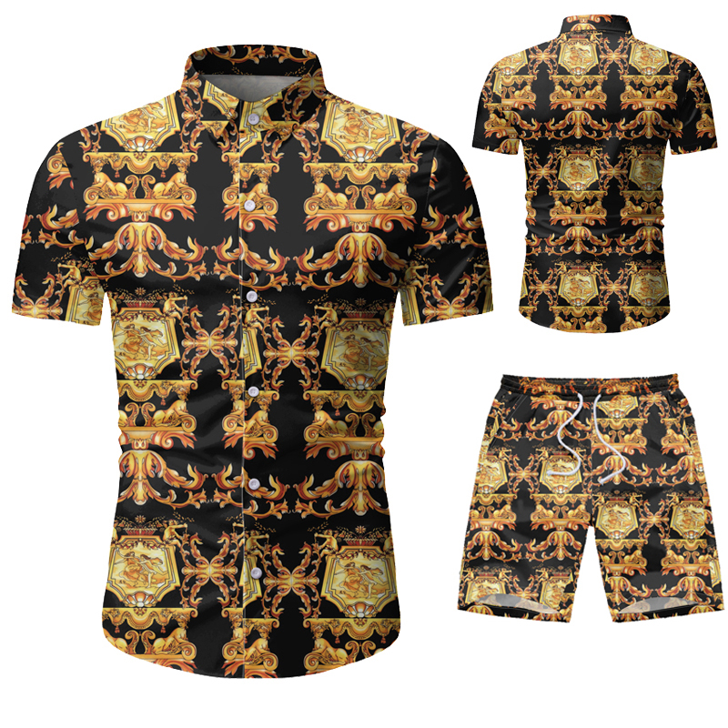 Mens Set Casual Suit Men's Hawaiian Beach Summer Sets 2020 Brand Clothing Turn-Down Collars Business Tops Shirts+Shorts Fashion