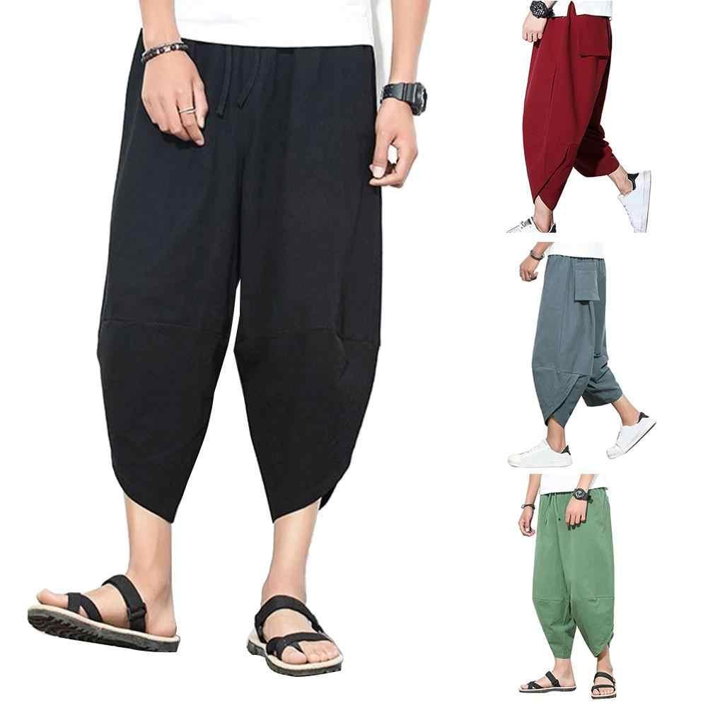 Ankle Length Pants for Men Striped Harem Jogger with Drawstring Yoga Trousers Skinny Dress Capri Fashion Elastic Waistband