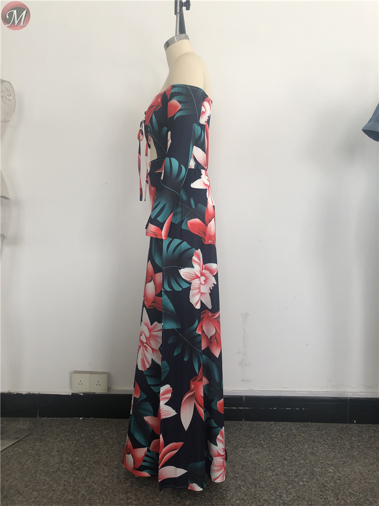 9032211 sexy women's casual floral printed strapless maxi dress