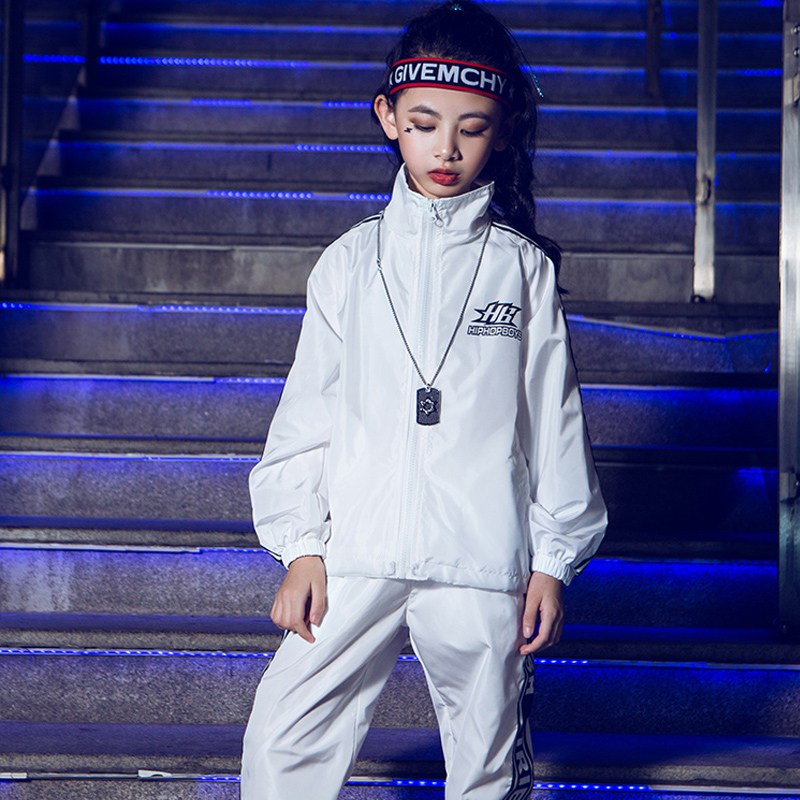 Girls Street Dance Costumes Children HipHop Jacket Kids Jazz Clothes New White Long Sleeve Stage Performance Rave Outfit VO121