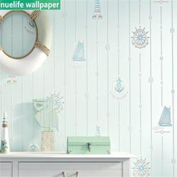 Cartoon nautische schip patroon vliesbehang woonkamer slaapkamer jongen meisje kinderkamer kleuterschool TV achtergrond muur papier