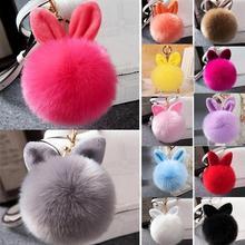 цена 9CM Fluffy Artificial Raccoon Fur Keychain Pompom Ball Key Ring Holders Charm Women Bag Car Pendant Jewelry Trinket Accessories онлайн в 2017 году
