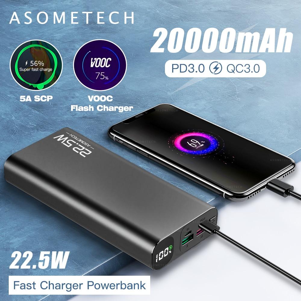 Affichage numérique batterie d'alimentation 20000mAh 5A Super rapide Charge QC3.0 Flash PD3.0 chargeur Powerbank batterie externe pour iPhone Android