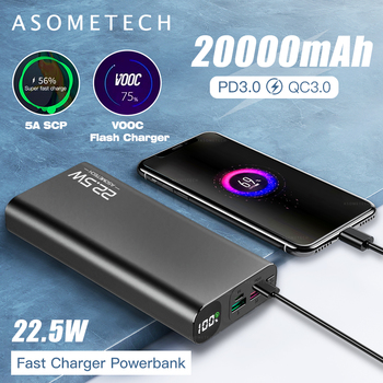 Digital Display Power Bank 20000mAh 5A Super Fast Charge QC3.0 Flash PD3.0 Charger Powerbank External Battery For iPhone Android