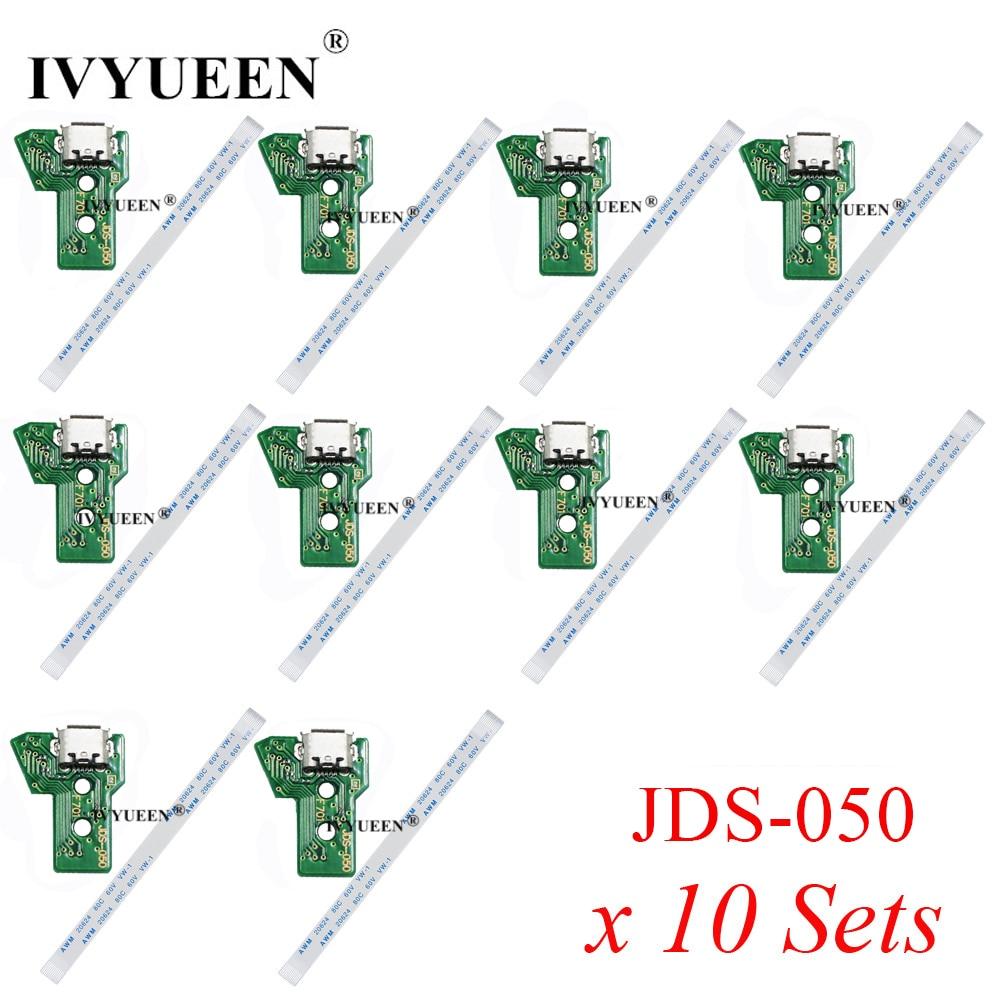 10 Sets USB Charging Port Socket Board with Power Flex Cable for Dualshock 4 PS4 Pro Slim Controller JDS050 JDS030 JDS040 JDS011