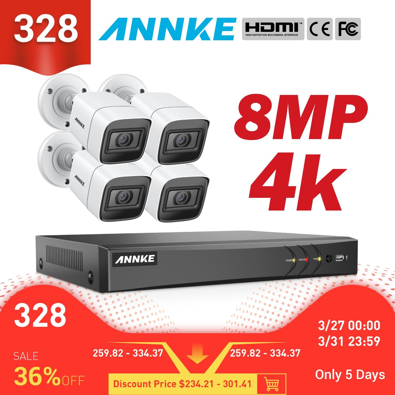 Annke 4 k hd ultra claro vídeo vídeo 8ch cctv sistema de segurança 5in1 dvr com 4x 8mp kit câmera de vigilância de vídeo à prova de intempéries ao ar livre