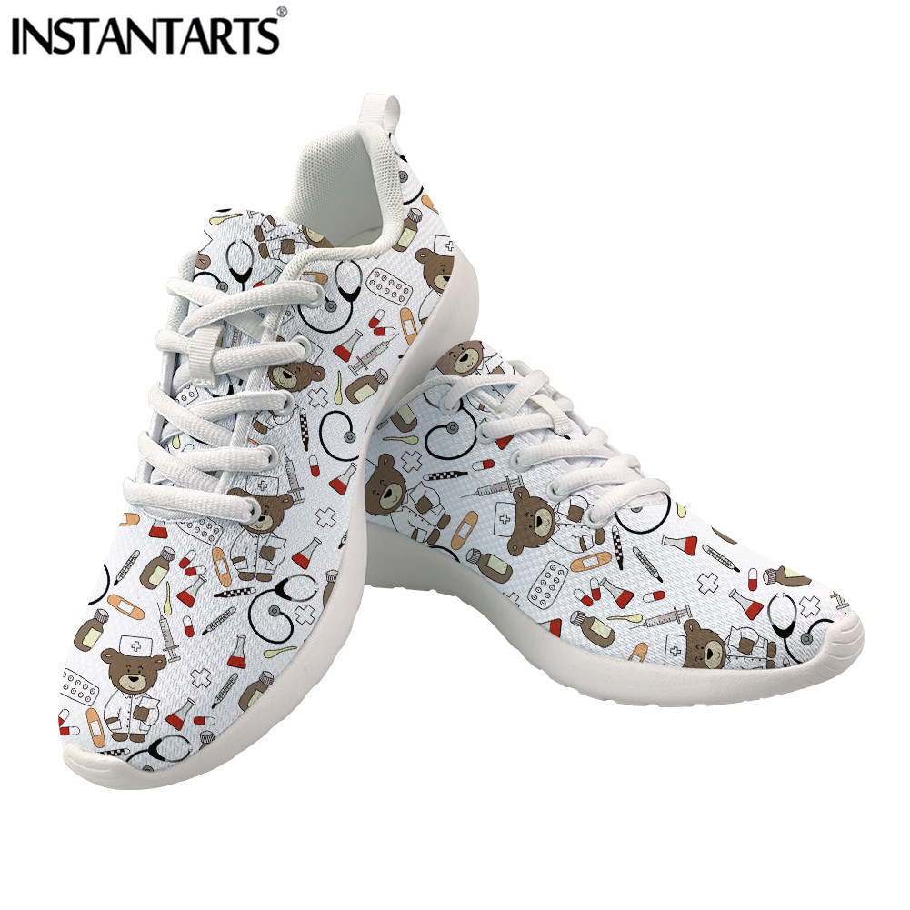 Hot Sale INSTANTARTS Cute Nurse Doctor Bear Print Casual Women Flats Lace-Up Mesh Sneakers for Girls Ladies Spring/Summer Nursing Shoes