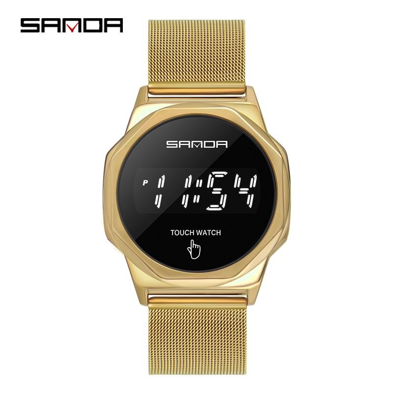 Montre-Bracelet numérique pour hommes, marque supérieure SANDA LED, mode, horloge, écran tactile, montre pour hommes