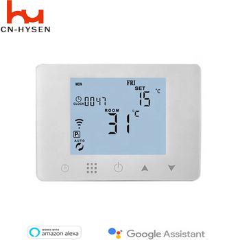 WiFi programowalny termostat do indywidualnego ogrzewania kotłów gazowych wodnych współpracuje z Alexa Google Home Dry contact tanie i dobre opinie CNHYSEN Anti-łatwopalny PC + ABS HY09BW-WiFI