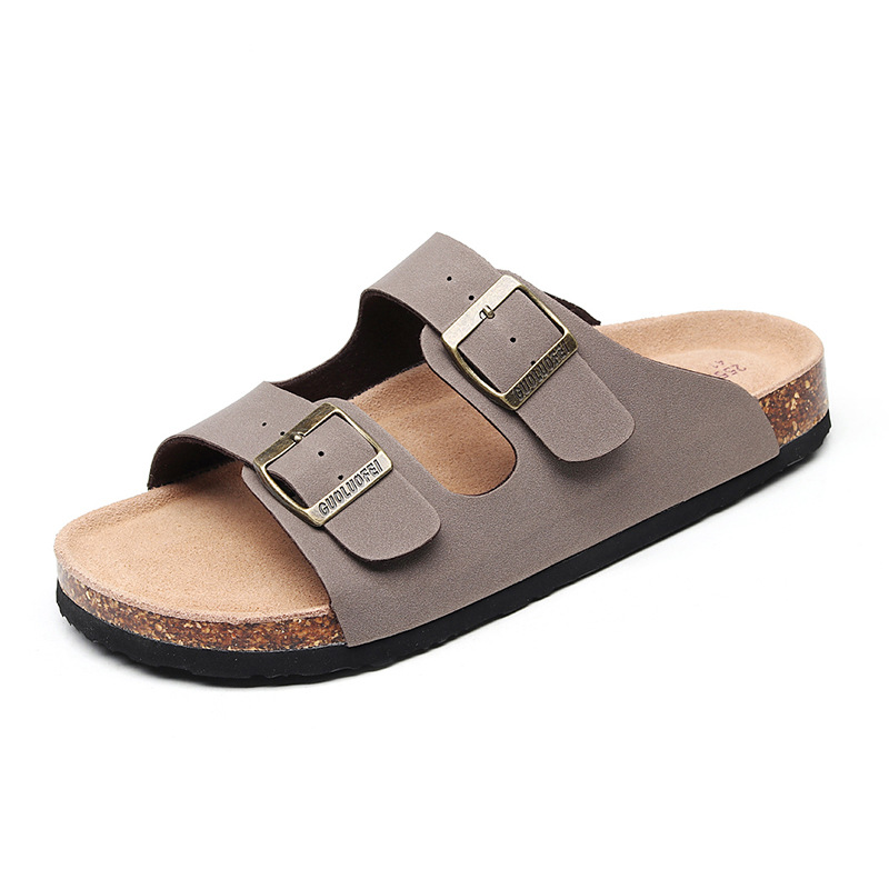 2019 New Men's Leather Mule Clogs Slippers High Quality Soft Cork Two Buckle Slides Footwear For Men Women Unisex 35-46