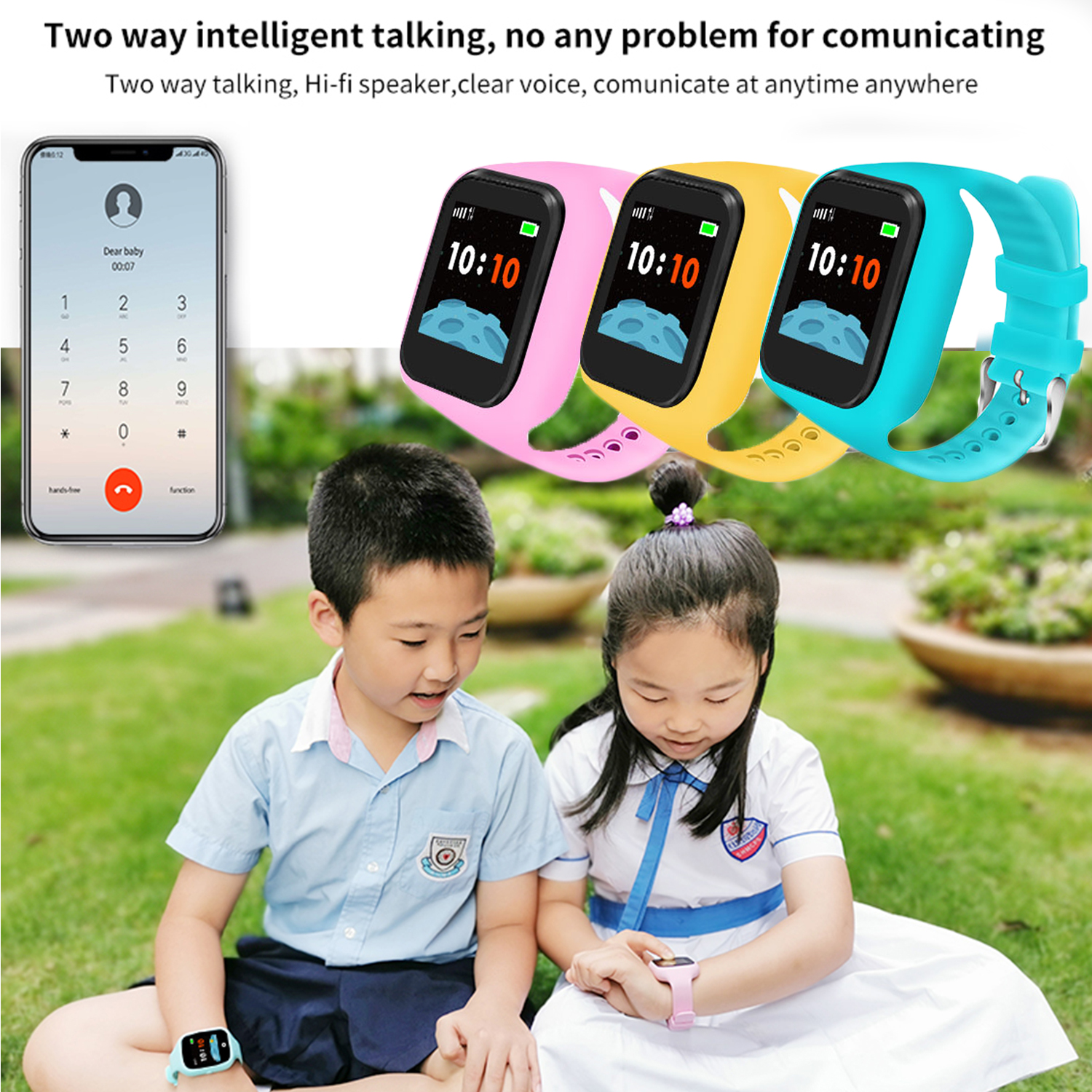 Kids Multi Function Waterproof SOS Anti-lost Smart Phone Watch 1.3inch Screen Touch Screen Locater Monitor Tracker Smartwatch