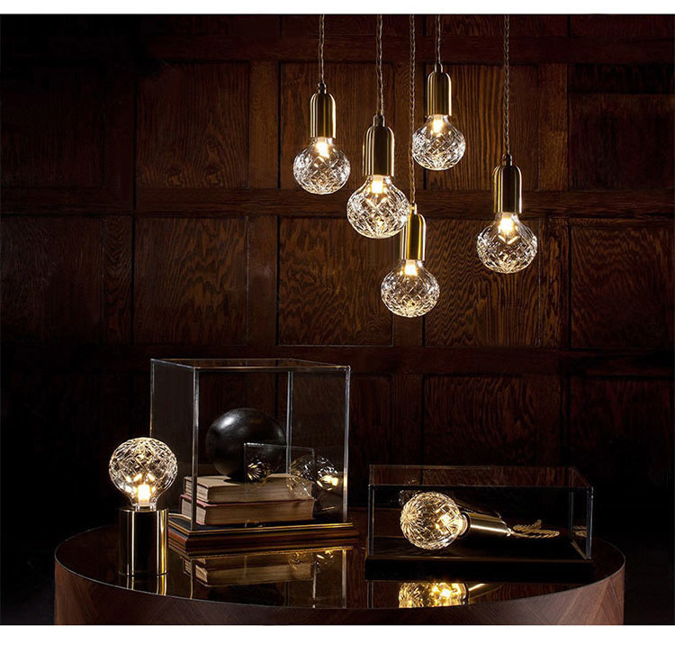 Designer Post Modern Glass Ball Globe Led Pendant Light Lamp Dimmable Gold Iron Rod Pipe Simple Line Pendant Lamp Light Led