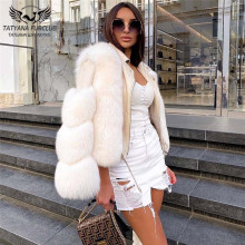 Fox-Fur-Jackets Coats Genuine-Sheep-Leather Natural Real Luxury Outwear New with Fashion