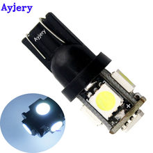 AYJERY 100X T10 5 SMD 5050 5 LED 194 168 W5W bombilla de luz LED COCHE bombillas de las luces 12V carcasa negra de Color blanco(China)