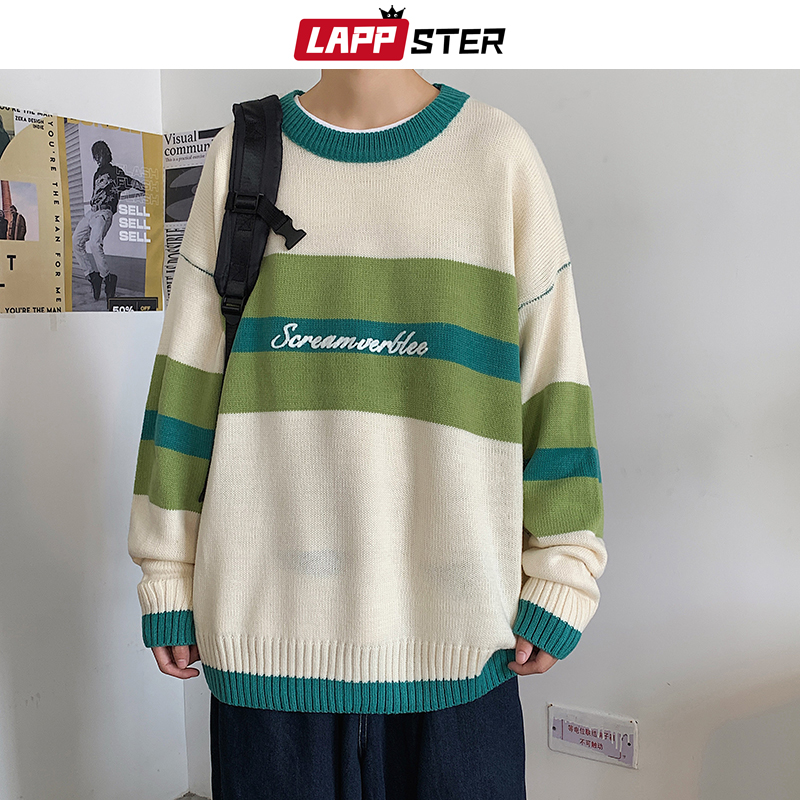 LAPPSTER Men Patchwork Oversized Striped Winter Knitted Sweater 2020 Pullover Mens Kpop Harajuku Sweater Casual Vintage Coat