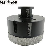 DT-DIATOOL 1pc M14 Dia 75mm Dry Vacuum Brazed Diamond Drilling Core Bit Ceramic Tile Hole Saw Granite Marble Stone Drill Bit