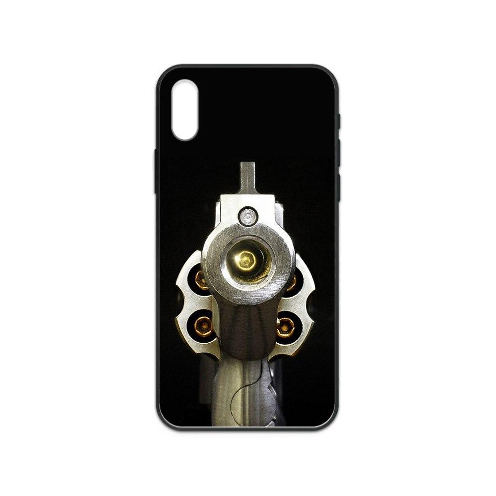 Revolver pistol Automatic Rifle Guns coque black Phone case For iphone 4 4s 5 5S SE 5C 6 6S 7 8 plus X XS XR 11 PRO MAX 2020